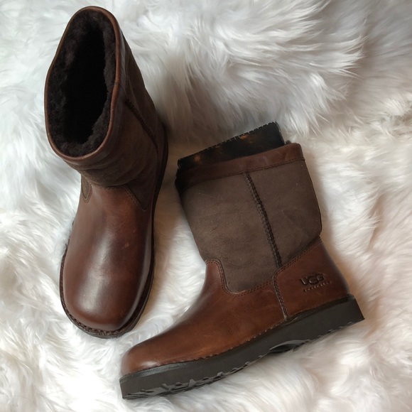 935a6d26596 RARE UGG Australia Brown Leather Beacon Boots NWT